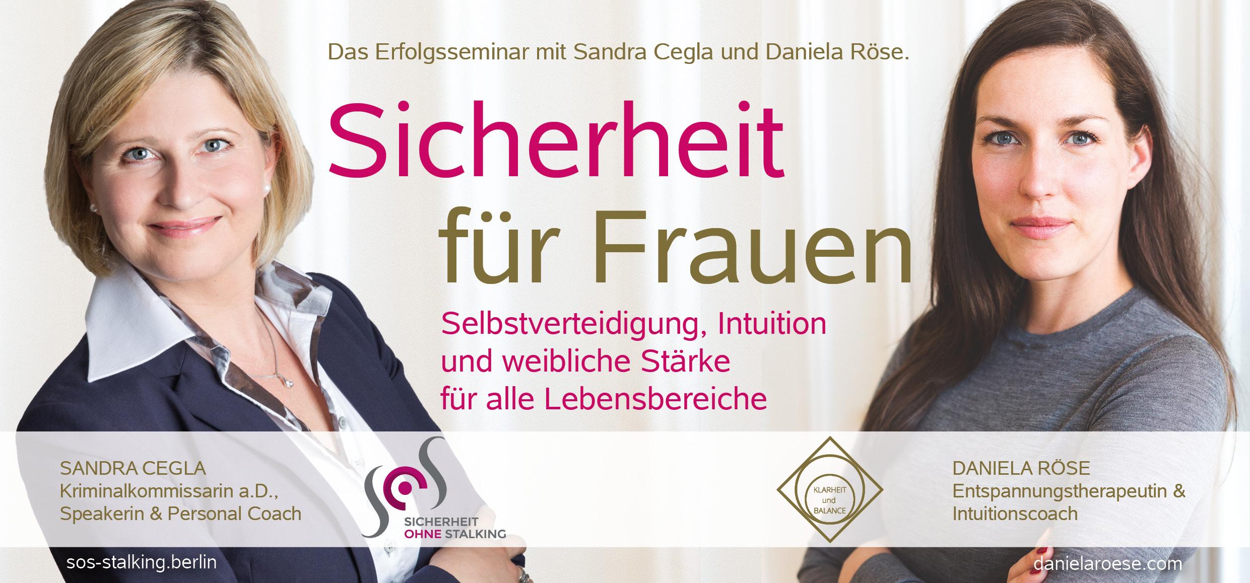 """Flyer Seminar """"Sicherheit für Frauen"""" Berlin 2018 mit Sandra Cegla und Daniela Röse"""
